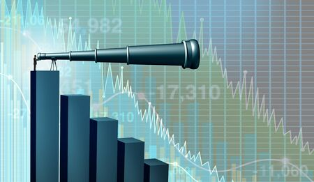Business failure outlook and search or economic strategy and stock market crash or economy forecast as a financial advisor or banking consultant searching for investing direction with 3D illustration elements.