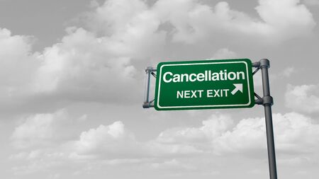 Cancellation and cancelled concept and coronavirus or covid 19 cancel events as trips gatherings  sporting games meetings and school cancellations postponed due to the virus outbreak as a 3D illustration.