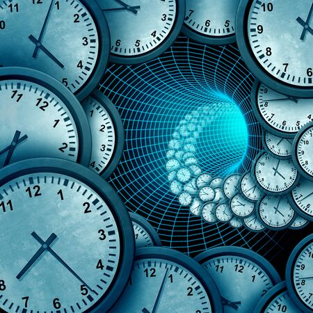 Time and infinity or eternal space science or astrology and infinity concept for past present and future as a 3D illustration.