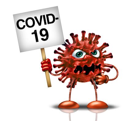Covid-19 virus and Coronavirus outbreak and influenza as dangerous flu strain character holding a sign as a pandemic medical health risk concept with disease cells as a 3D render