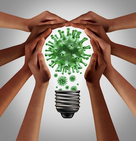 Virus solutions and coronavirus pandemic health advice as people working as one as a diverse group coming together joining hands into the shape of a light bulb with 3D illustration elements. 免版税图像