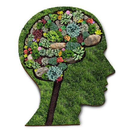 Personal growth concept and gardener or landscaper symbol for gardening psychology as a horticulture design with a perennial lawn and flowerbed with ornamental plants shaped as a human head.