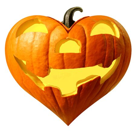 Halloween pumpkin heart and fun pumpkins love symbol as a happy carved squash isolated on a white background.