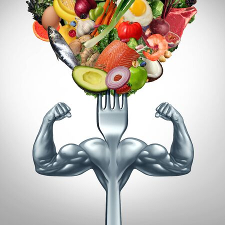 Powerful food and power eating symbol for strenght workout or working out with nutritional supplement as a healthy fit lifestyle as a fork with muscles with 3D illustration elements.