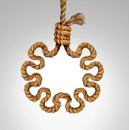 Virus death noose concept as a rope in a lasso slipknot as a symbol for lethal infection of influenza or flu and coronavirus or covid-19. Stock Photo