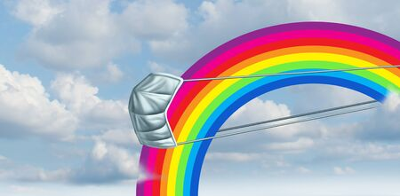 Hope rainbow background in the clouds as a as a recovery from corona virus or covid flu and influenza  as a positive symbol for the future as an everything will be alright icon in a 3D illustration style.