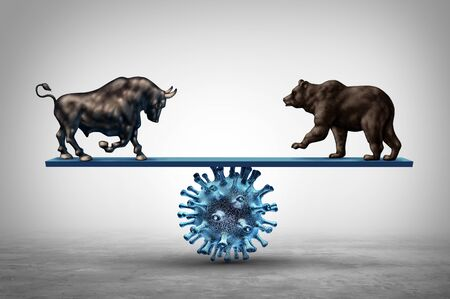 Business see saw and disease and economic pandemic outbreak and Stock market virus fear or bull and bear economy on a see saw concept with 3D illustration elements.