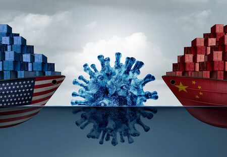 Pandemic trade crisis as China United States economic challenge and American Chinese exports and imports virus health risk as two cargo container ships encountering a disease iceberg as a 3D illustration. Stock Photo