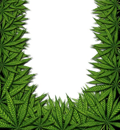 Marijuana background frame and cannabis border design on a white background as a symbol for medicinal pot or medical weed as a group of green leaves in a 3D illustration style. Stock Photo