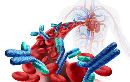 Antibodies in blood inside the human body related to the immune system fighting disease as a medical symbol for antibody or  immunoglobulin inside an artery anatomy concept as a 3D illustration. Stock Photo