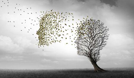 Concepto de Alzheimer y demencia de enfermedad de pérdida de memoria y pérdida de memoria de la función cerebral como un símbolo de salud de Alzheimer de neurología y problemas mentales con elementos de ilustración 3D.