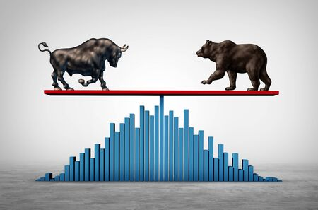Investing balance as a business see saw and economic Stock market or bull and bear economy on a see saw concept with 3D illustration elements.