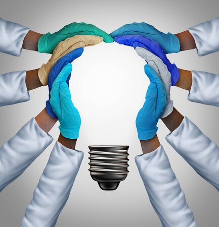 Medical research together as physicians joining hands as a medicine group collaborating into the shape of an inspirational light bulb as a doctor community health support metaphor with 3D render elements.