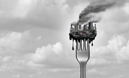 Pollution and food and toxic pollutants in nutrition as eating a contaminated meal as a fork with industrial toxins or climate change affects on the body with 3D illustration elements. Stock Photo