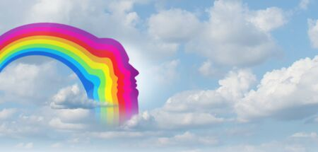 Hope rainbow background shaped as a human head in the clouds as a as a recovery from challenges as a positive psychology symbol for the future as an everything will be alright icon in a 3D illustration style.