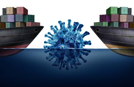 Shipping and disease challenges and cargo logistics dealing with the coronavirus or influenza as a freight ships facing a dangerous iceberg as a business import export metaphor with 3D illustration elements. Stock Photo