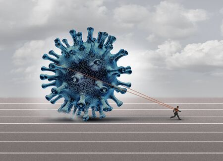 Disease burden concept as a burdened person or businessman pulling a heavy virus cell as a symbol for medical stress or influenza and coronavirus pressure with 3D illustration elements.