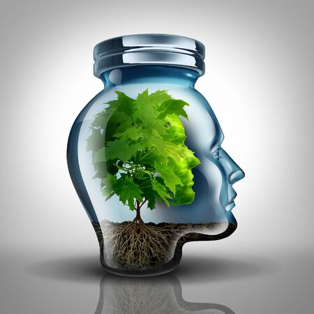Inner growth psychology concept and personal development idea as a glass jar shaped as a human head with a tree inside representing mental health with 3D illustration elements.