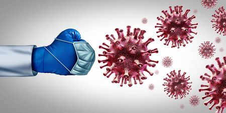 Virus fight for a vaccine and flu or coronavirus medical treatment for a disease as a doctor fighting a group of contagious pathogen cells as a health care metaphor for researching a cure with 3D illustration elements. Stock Photo
