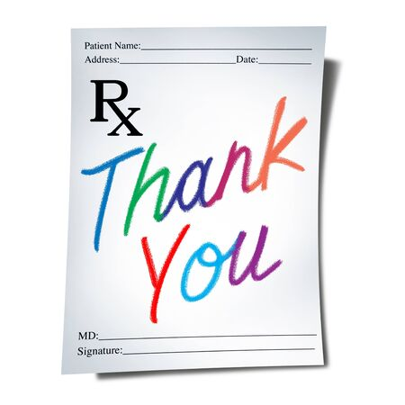 Healthcare thank you and appreciation for healthcare workers and global health care thanks as a doctor prescription note for pharmacy medicine with words of gratitude as a 3D illustration.