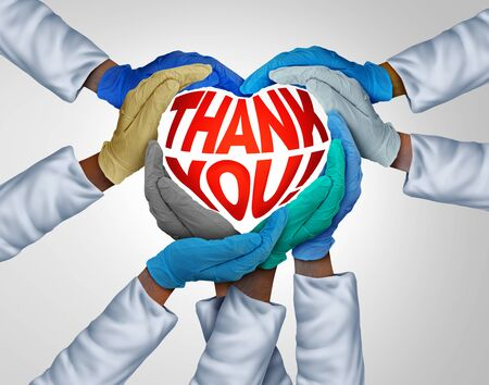 Healthcare workers thank you and medical teamwork or doctors unity and global health care appreciation as doctor hands in a group of diverse medics connected together in a 3D illustration style.