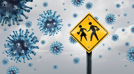 Students and virus outbreak or school disease concept as a student traffic sign with virus cells as a warning for flu or coronavirus and covid-19 outbreak in schools as a 3D illustration. Stock Photo