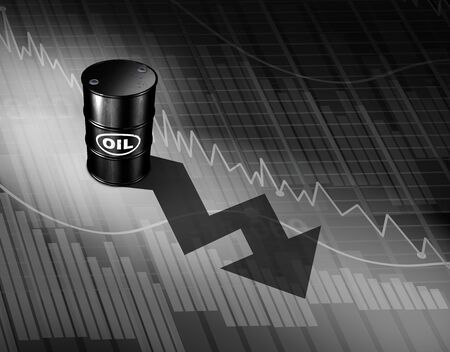 Oil prices falling concept as a barrel of crude petroleum casting a downward arrow on a financial chart as a symbol for declining fossil energy due to oversupply and overproduction as a 3D illustration.