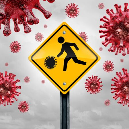 School and disease concept as a student traffic sign with a virus cell as a warning for  flu or coronavirus and covid-19 outbreak in schools and a risk to students as a 3D illustration.