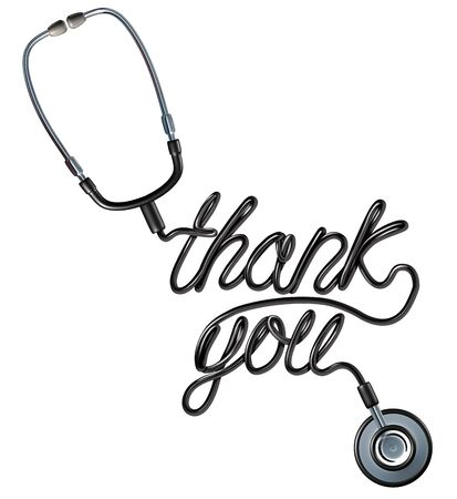 Healthcare Thank you as a doctor stethoscope shaped as a thankyou text as a symbol for health care workers appreciation on a white background as a 3D render. Stock Photo