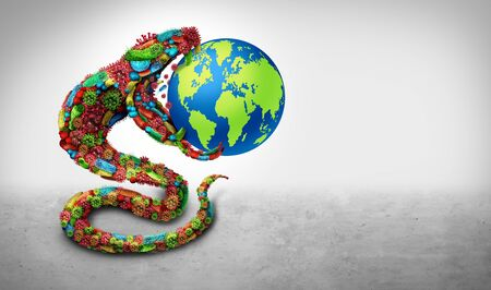 Infectious global disease danger as a group of virus cells and bacteria microbes shaped as a snake as a medical and pathogen icon or healthcare concept for pandemic outbreak and world infection as a 3D render.