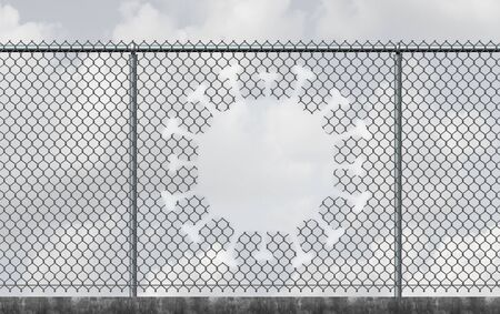 Virus freedom and lockdown escape concept as a chain link fence with a hole shaped as a contagious viral cell as a reopening after a pandemic outbreak or escape quarantine from disease as a 3D render. Stock Photo