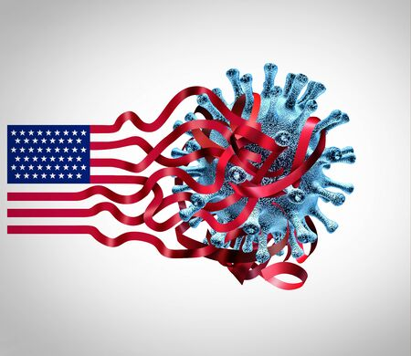 US coronavirus challenges and United States covid-19 virus infection issues as an American healthcare crisis with the USA flag entangled with a contagious cell as a 3D illustration.