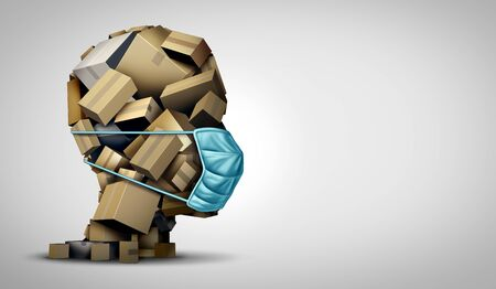 Delivery of goods with medical mask and online shopping parcels during a disease pandemic as a stack of cardboard boxes shaped as a head as a 3D illustration.