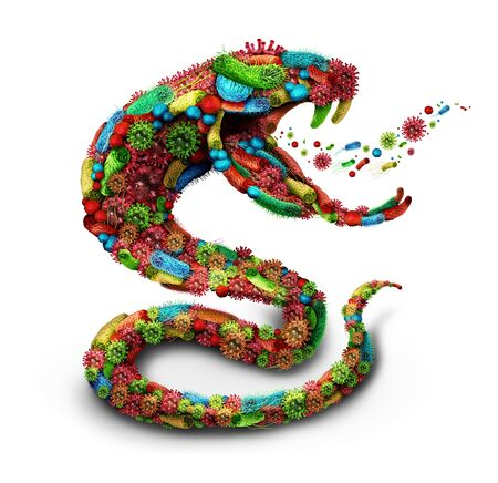 Disease danger symbol as a group of virus cells and bacteria microbes shaped as a poisonous snake as a medical and pathogen icon or healthcare concept for pandemic outbreak and infection as a 3D render.