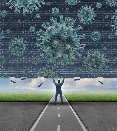 Reopening the economy after the pandemic outbreak and opening up closed businesses and removing the coronavirus lockdown as a business concept for hope and disease cure with 3D illustration elements.