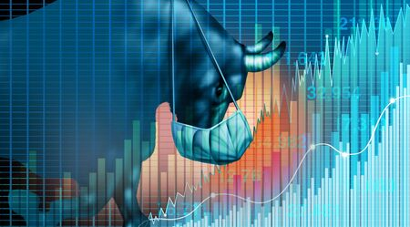 Stock market recovery and economy health as a economic confidence after a pandemic as a bull financial gain and increase in prices concept with 3D illustration elements.