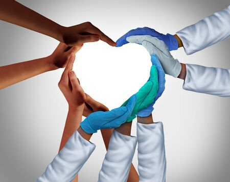 Community and Health Workers and Essential care medical group or hospital medicine teamwork as a group of doctors and nurses joining together in a heart shape with patients in a 3D illustration style.