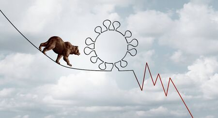 Bear market virus pandemic outbreak business concept of a financial risk as a bearish stock market symbol on a tight rope shaped as a virus and finance loss chart in a 3D illustration style. Фото со стока