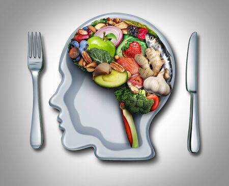 Brain diet and food psychology or nutritional psychiatry as healthy food shaped as a thinking organ with a plate in the shape of a human head with 3d illustration elements. Banque d'images