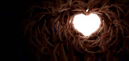 Diversity together and unity partnership as heart hands in a group of diverse people connected shaped as a support symbol expressing the feeling of teamwork and togetherness. Imagens