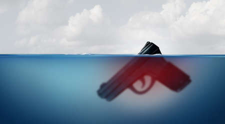 Gun risk concept as a giant firearm submerged in water as a police or military symbol for guns and violence and the hidden danger of weapons with 3D illustration elements. Standard-Bild