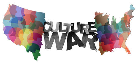 Culture war and cultural wars concept or USA heritage and divided American politics as different philosophy as cultures and ideology in conflict in the United States in a 3D illustration style. 写真素材