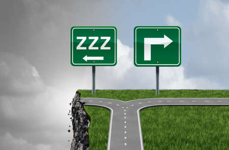 Sleeping while driving and drowsy driver concept as a traffic symbol for drivers that fall asleep at the wheel and the dangers of taking a drive and feeling drowsiness with 3D illustration elements.