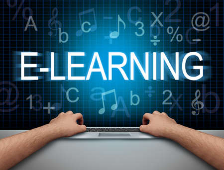 E-learning and education technology and virtual classrooms for remote learning or online classroom concept with 3D render elements