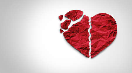 Broken heart breakup concept as a separation and divorce relationship psychology icon as red crumpled paper shaped as a love symbol or medical cardiovascular health care problems due to illness.