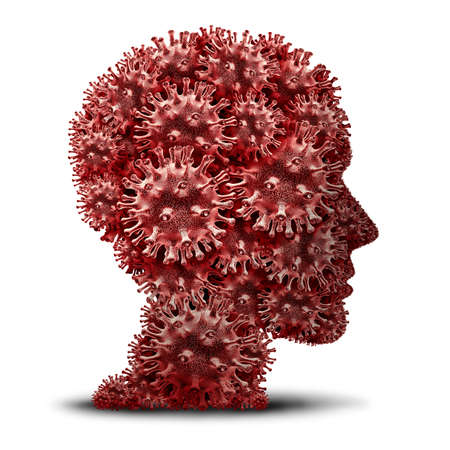 Virus head and coronavirus or flu fear and influenza symptoms and diagnosis concept as a pathogen shaped as a human medical epidemic or viral outbreak and disease anxiety psychology as a 3D render.