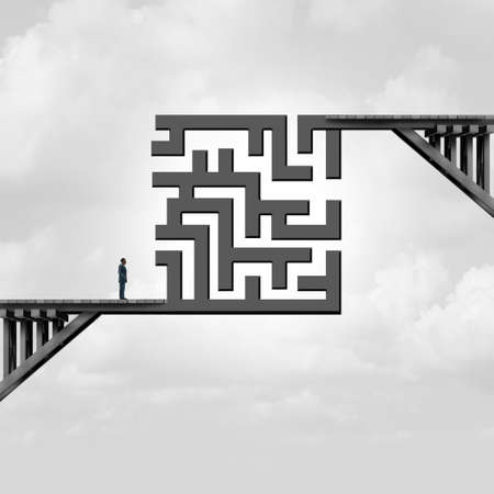 Business concept of challenge and career goal difficulty as a bridge with a maze dividing a path and pathway as a metaphor for corporate strategy with 3D illustration elements. Foto de archivo