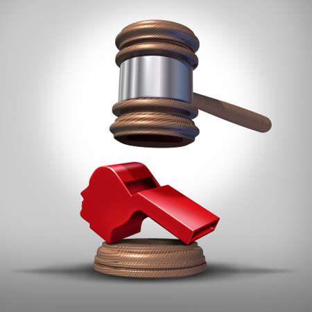 Whistleblower laws or anonymous whistle blower justice concept as a symbol of exposing corruption or misconduct in the workplace with a red whistling object shaped as a human head as a 3D render.