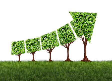 Economy graph growth chart and agriculture development concept as a group of gear trees united together as an arrow pointing upwards as a success metaphor for profits and growth as a 3D render.