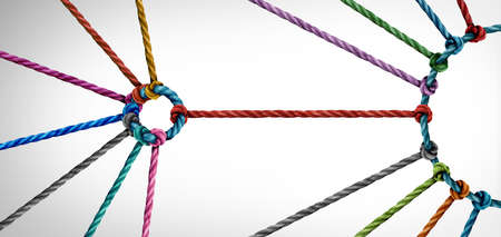 Industry partnership and unity or teamwork concept as a small business metaphor for joining a big team as diverse ropes connected together as a corporate symbol for cooperation and working collaboration. Banque d'images